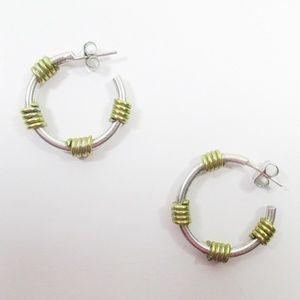 Modern Industrial Coil Hoop Statement Earrings